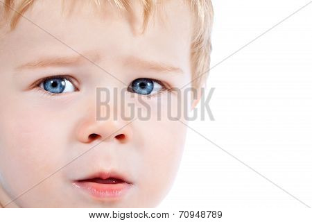 Toddler blond and blue eyed boy with various facial expressions isolated on white