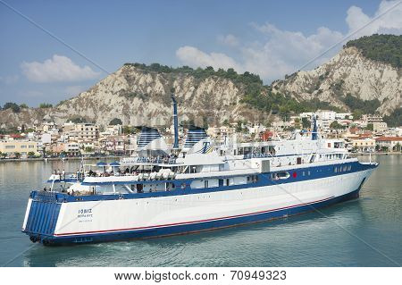 Ship Sailing In Zante Coast On Zakynthos Island
