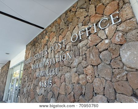 Metal Letters That Spell United States Post Office, Waikiki Station, Honolulu, 96815