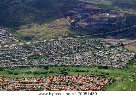 Aerial Of Highway,  Kapolei Homes, Golf Course, And Quarry On Oahu