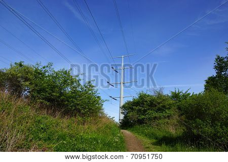 Dirt Path Leading To Up Hill With Metal Power Pole In The Distance