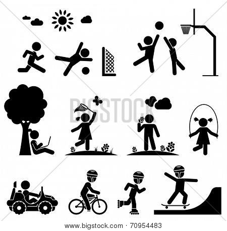 Children play on playground. Pictogram icon set.