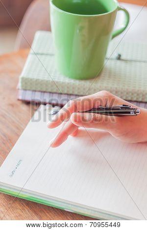 Thinking Something To Write On Notebook