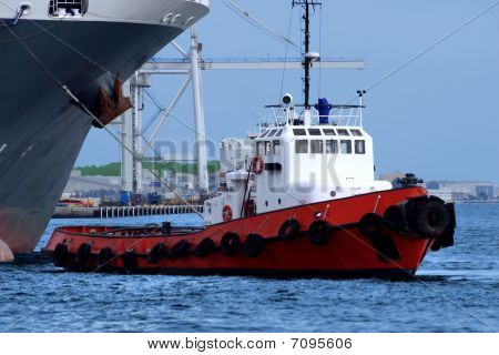 Tugboat At Work A