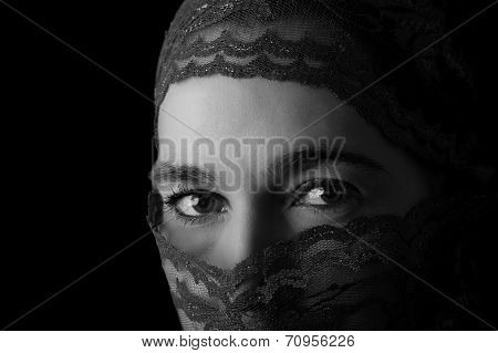 Middle Eastern Woman Portrait Looking Sad With Hijab Artistic Conversion