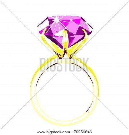 Solitaire - diamond ring vector illustration