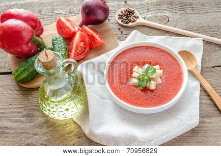 Portion Of Gazpacho With Ingredients
