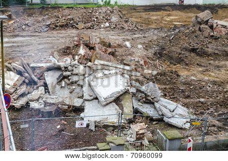 Demolition, Pile Of Rubble, Construction Site