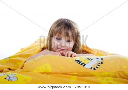 Cute Smiling Girl On Bed