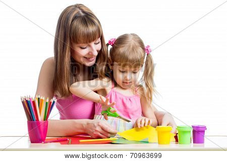Mother Teaches Preschooler Kid To Do Craft Items. Diy Concept.