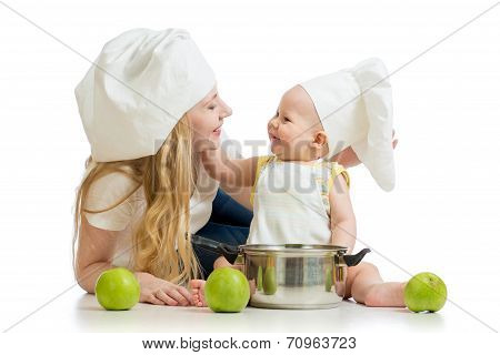Mother And Baby With Green Apples Isolated On White Background
