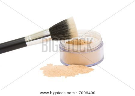 Opened Jar With Make-up Powder And Brush Isolated