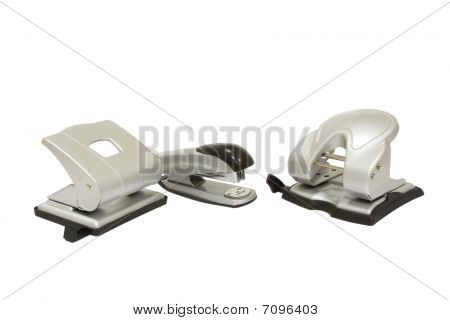 Hole Punchers And Stapler Isolated