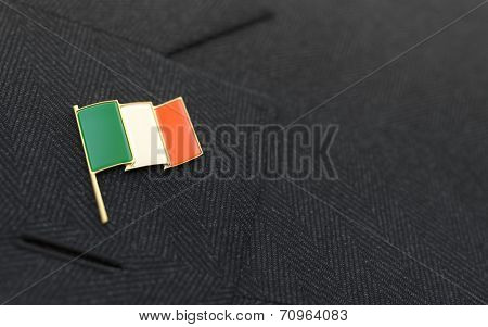 Ireland Flag Lapel Pin On The Collar Of A Business Suit