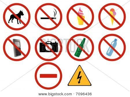 Set of ten prohibition signs