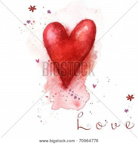 Watercolor painted red heart. Design elements. Retro background. Valentine background.