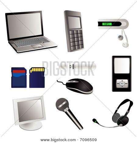 Satz von detaillierten elektronischen multimedia Vektorelemente