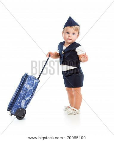 Baby Girl Dressed As  Stewardess With Trunk