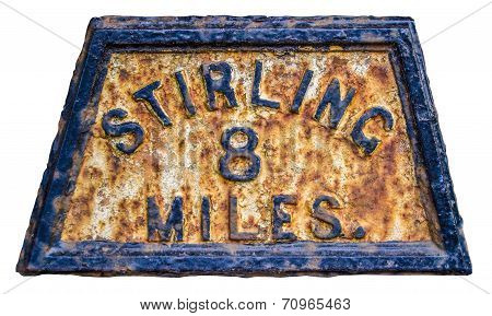 Stirling Mile Marker Sign
