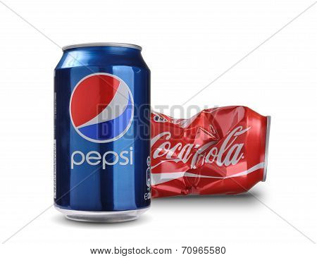 Pepsi and Coca-cola cans