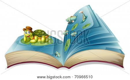 Illustration of a popup book with a turtle on leave