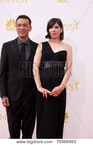 LOS ANGELES - AUG 25:  Fred Armisen, Carrie Brownstein at the 2014 Primetime Emmy Awards - Arrivals at Nokia at LA Live on August 25, 2014 in Los Angeles, CA