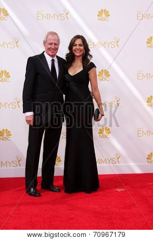 LOS ANGELES - AUG 25:  Bertram van Munster, Elise Doganieri at the 2014 Primetime Emmy Awards - Arrivals at Nokia at LA Live on August 25, 2014 in Los Angeles, CA