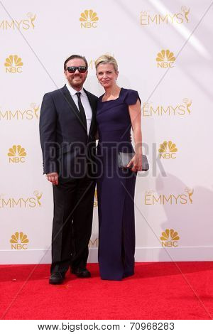 LOS ANGELES - AUG 25:  RIcky Gervais at the 2014 Primetime Emmy Awards - Arrivals at Nokia at LA Live on August 25, 2014 in Los Angeles, CA