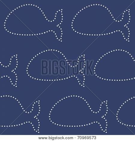 Dotted line whales seamless pattern.