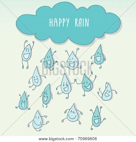 Raining with happy funny raindrops.