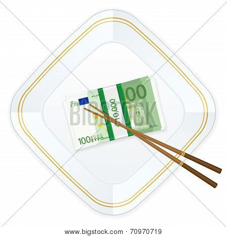 Plate Chopsticks And One Hundred Euro Pack