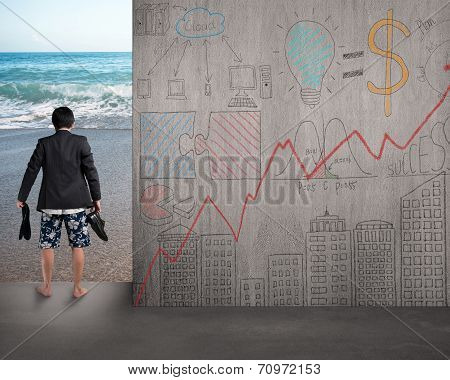 Barefoot Businessman Holding Leather Shoes Standing On Beach Entrance