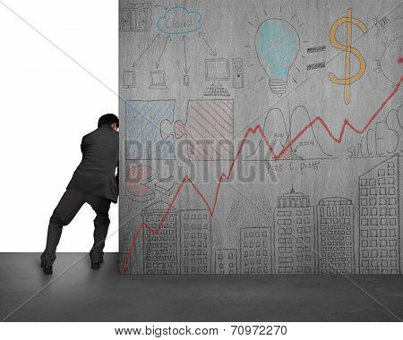 Businessman Pushing Doodles Concrete Wall Away