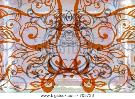 Grunge Pink And Orange Swirls