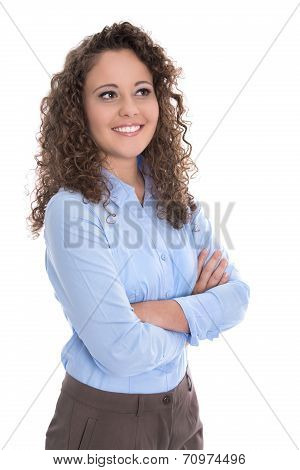 Isolated Pretty Young Businesswoman In Blue Looking Sideways.
