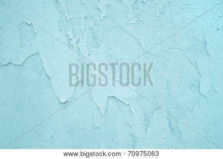 Light Blue Or Turquoise Old Wall With Exfoliated Color.