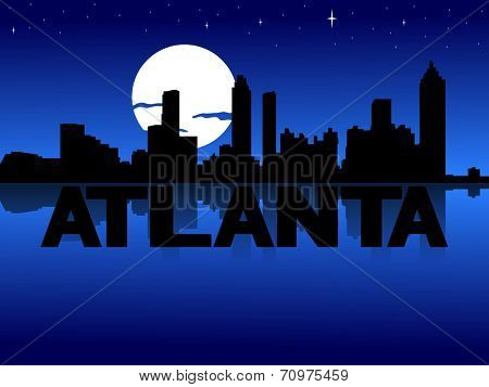 Atlanta skyline reflected with text and moon illustration