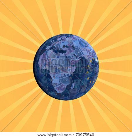 European currency flag globe with sunburst illustration