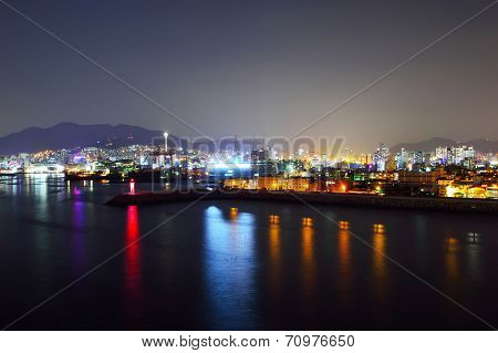 Skyline Of Suyeong Distric At Night, Busan, South Korea