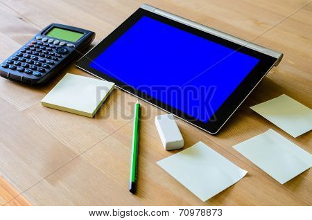 Workplace With Tablet Pc - Blue Box, Calculator, Pencil And Sticky Notes
