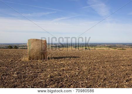 Plowed Field With Round Hay Bale