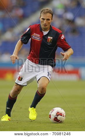 BARCELONA - AUG, 17: Giovanni Marchese of Genoa CFC in action during a friendly match against RCD Espanyol at the Estadi Cornella on August 17, 2014 in Barcelona, Spain