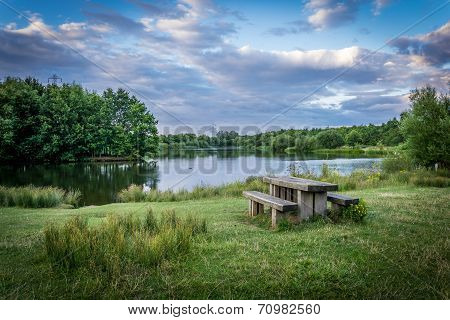 Picnic Table Next To Lake