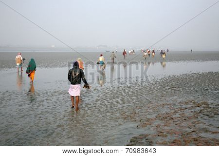 CANNING TOWN, WEST BENGAL, INDIA - JANUARY 17: During low tide the water in the river Malta falls so low that people walk to the other shore in Canning Town, India on January 17, 2009.