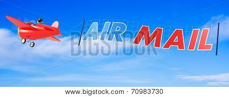 Cartoon Airplanes With Air Mail Banner