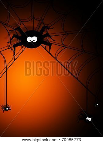 Halloween Background With Spiders And Place For Text