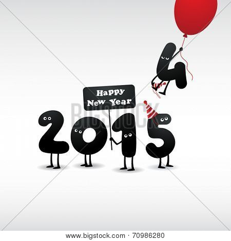 Funny greeting card - Happy New Year 2015 - Vector EPS 10