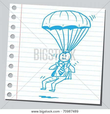 Businessman parachute