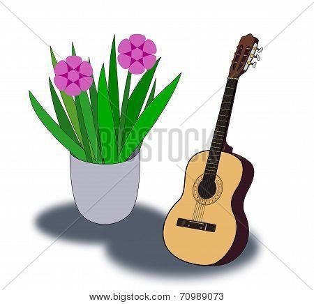 Guitar and Flowerpot