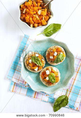 Pumpkin Bruschetta. Bruschetta With Roasted Pumpkin, Cheese And Basil